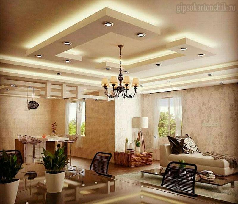 Дизайн потолков: Потолки из гипсокартона (100 фото)