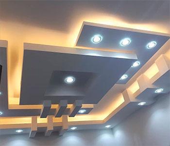 Потолок из гипсокартона со встроенными светильниками