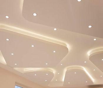 Потолок из гипсокартона с белой подсветкой